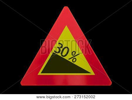 Traffic Sign Isolated - Grade, Slope 30% - On Black