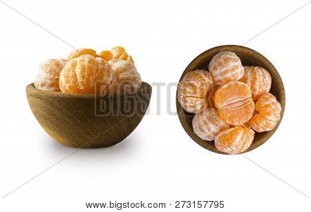 Set Of Fresh Mandarins. Clementines Slices Isolated On White Background. Fresh Tangerines With Copy