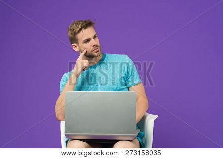 The Whole World In One Touch. Man Surfing Internet On Laptop. Guy Working Online. Take Advantages On