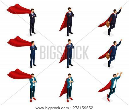 Isometry Is A Set Of Vector Supermen Of Super Heroes, 3d Businessmen Are Teenagers, Young Entreprene