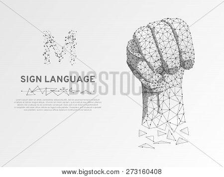 Origami Sign Language M Letter, Russian Sing Dulya Figa Shish Kukish Behind Third Finger. Polygonal