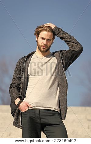 Mens Fashion And Style. Man With Beard In Casual Wear Touch Hair On Sunny Outdoor, Fashion. Macho St