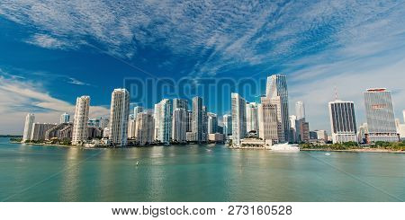 Miami Skyline Skyscrapers , Yacht Or Boat Next To Miami Downtown, Aerial View, South Beach. Miami