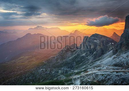 Dramatic Beautiful Dramatic Sunset In  A Mountain