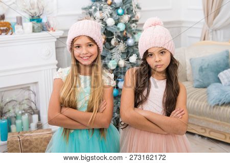 Family Holiday. Cute Little Children Girl With Xmas Present. Happy Little Girls Sisters Celebrate Wi