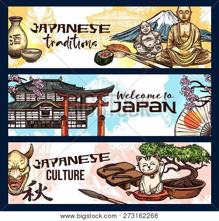 Japanese Religion And Culture Symbols, Welcome To Travel, Vector Design. Sushi And Roll, Sake And Fu