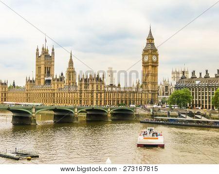 Houses Of Parliament, Big Ben Clocktower And Westminster Bridge. London, Uk