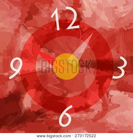 Abstract Time Clock On Liquid Red Background