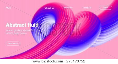 Abstract Background, Landing Page Template. Colorful Fluid Shape With Movement. Abstract Wave Poster
