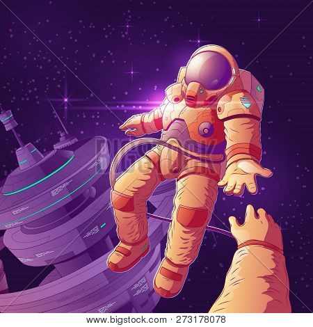 Future Space Tourists Couple On Orbit Cartoon Vector Concept With Astronaut In Futuristic Spacesuit