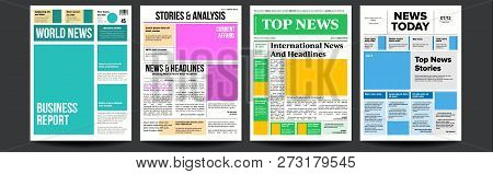 Newspaper Cover Set Vector. Paper Tabloid Design. Daily Headline World Business Economy And Technolo