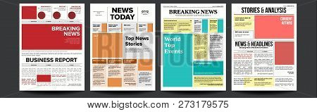Newspaper Cover Set Vector. With Headline, Images, Page Articles. Newsprint, Reportage Information.