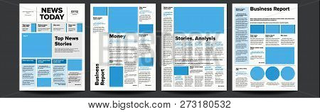 Newspaper Vector. With Headline, Images, News Page Articles. Newsprint, Reportage Information. Press