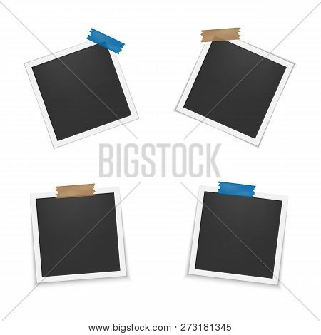 Set Of Blank Photo Frames With Shadow. Photo Frames With Adhesive Tape. Empty Template For Photograp