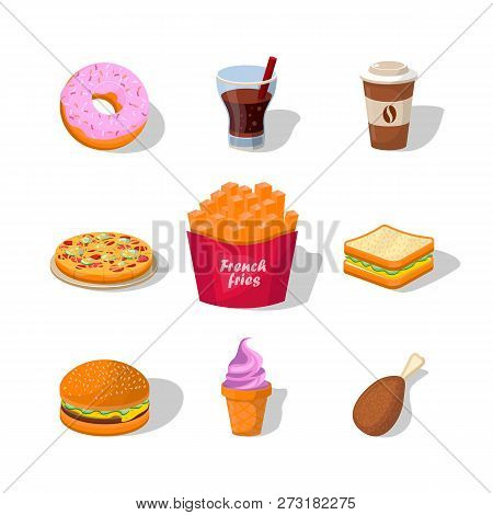 Flat Fast Food Colorful Illustrations Vector Isolated On White Background. Fast Food Hamburger Dinne