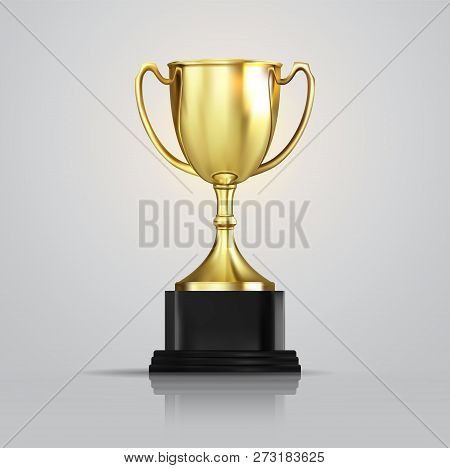 New Golden champion cup isolated on white background. Vector realistic 3d illustration. Championship trophy with glittering confetti particles. Sport tournament award. Victory concept