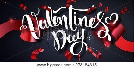 Valentines Day Design Vector Template. Calligraphic Valentines Day Lettering Decorated.valentines Po