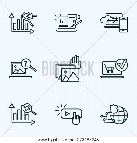 Search Icons Line Style Set With Blog Commenting, Image Search, Cloud Computing And Other Analytics