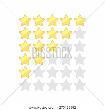 Stars Rating Vector Images. Gold And Silver Five Star Ranking Buttons Icon Set. Rate And Vote Stars.