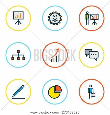 Business Icons Colored Line Set With Introducing, Comment, Engineer And Other Billboard Presentation