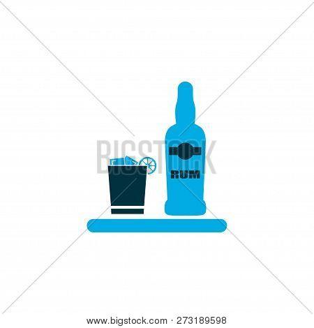 Ice Rum Icon Colored Symbol. Premium Quality Isolated Liqueur Element In Trendy Style.