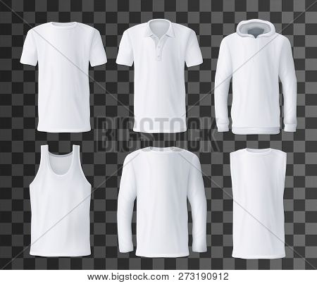 T-shirt Template With Front View Of White Men Shirts Mockup. Polo, Hoodie And Tank Top, Hooded Sweat