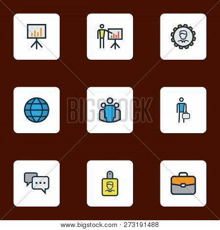 Trade Icons Colored Line Set With Employee, Network, Introducing And Other World Elements. Isolated