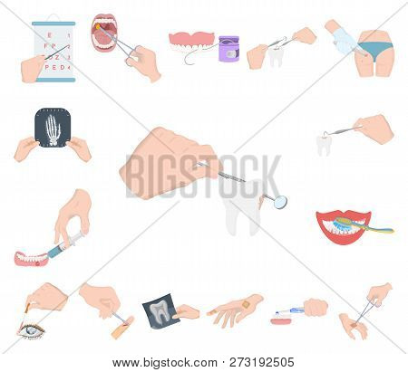 Manipulation By Hands Cartoon Icons In Set Collection For Design. Hand Movement In Medicine Vector S