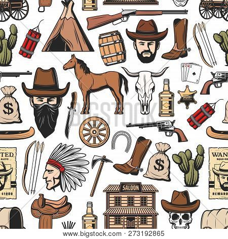 Wild West Seamless Pattern Background With Western Vector Symbols. Texas Cowboy In Hat, Cow Skull An
