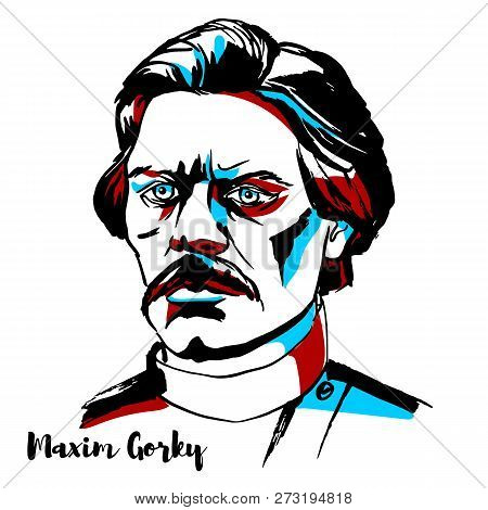 Russia, Moscow - November 15, 2018: Maxim Gorky Engraved Vector Portrait With Ink Contours.russian A
