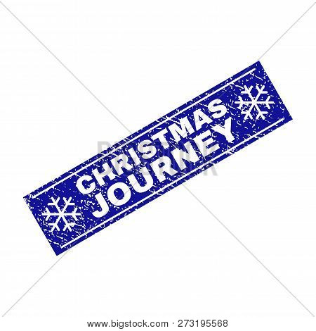 Grunge Rectangle Christmas Journey Stamp Seal With Snowflakes And Lines. Vector Christmas Journey Gr