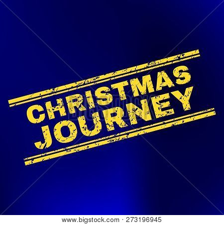 Grunge Christmas Journey Stamp Print On Complex Gradient Background. Vector Christmas Journey Rubber
