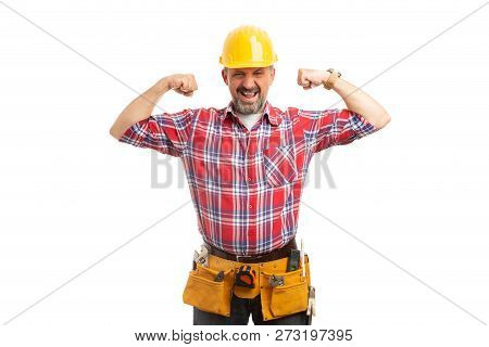 Constructor Joking Boasting By Flexing Arm Muscles Isolated On White Studio Background