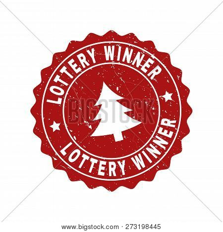 Grunge Round Lottery Winner Stamp Seal With Fir-tree. Vector Lottery Winner Rubber Seal Imitation Fo