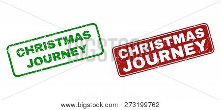 Grunge Christmas Journey Stamp Seals. Vector Christmas Journey Rubber Seal Imitation In Red And Gree