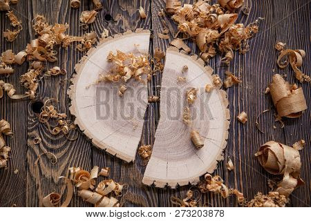 Wood shavings and Ashen tree cross section on the carpenters workbench close up: woodworking and carpentry concept poster