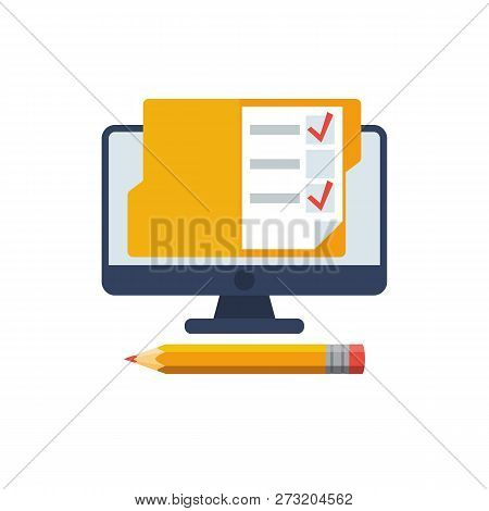 Online Exam. Checklist And Pencil On A Computer Monitor. Online Form Survey. On-line Questionnaire.