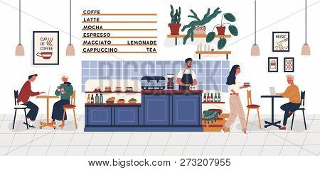 Coffeehouse, Coffee Shop Or Cafe With People Sitting At Tables, Drinking Coffee And Working On Lapto
