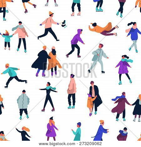 Seamless Pattern With People Dressed In Winter Clothes Ice Skating On Rink. Backdrop With Men, Women