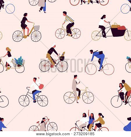 Seamless Pattern With People Riding Bikes Or Bicyclists. Backdrop With Men And Women On Bicycles. Co