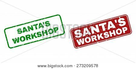 Grunge Santas Workshop Stamp Seals. Vector Santas Workshop Rubber Seal Imitation In Red And Green Co