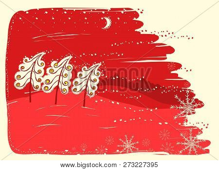 Red Christmas Card With Trees On Snow Landscape Background.