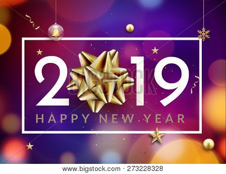 New Year 2019 Happy Christmas Card Background. New Year Celebration Abstract Typography With Golden