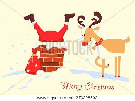 Merry Christmas Card With Santa Claus Stuck In The Chimney In The Christmas Holiday Night