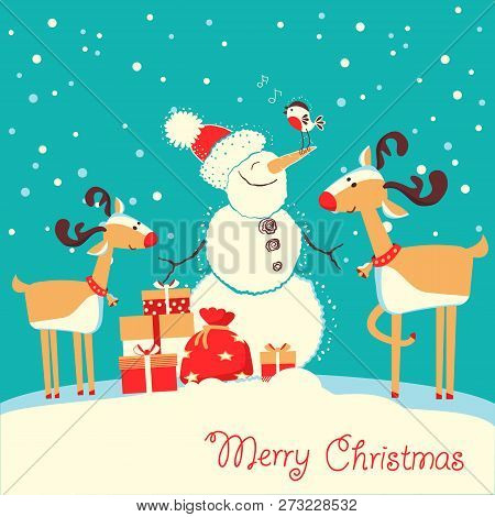 Merry Christmas Card With Deers And Snowman Listening Music