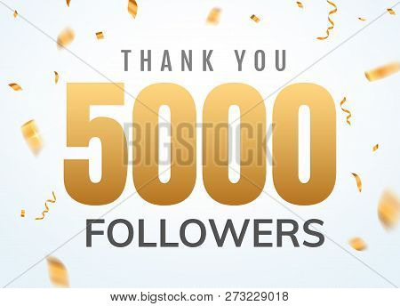 Thank You 5000 Followers Design Template Social Network Number Anniversary. Social Users Golden Numb