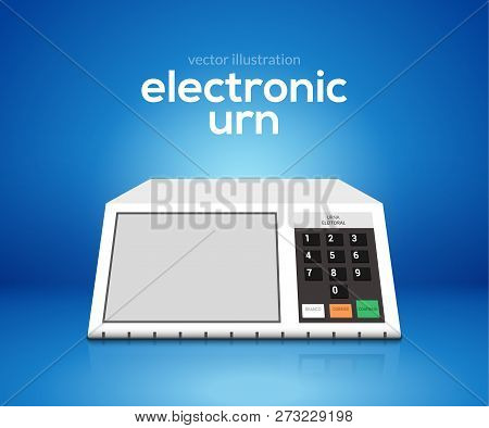 Electronic Urn Voting Computer. Vector Brazil Choice President Elections Electronic Voting Urn Desig