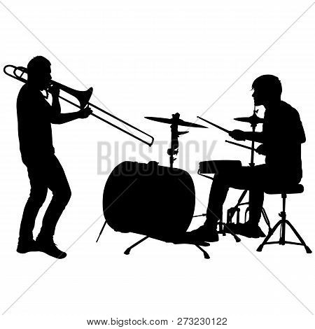 Silhouette Of Musician Playing The Trombone And Drummer On A White Background