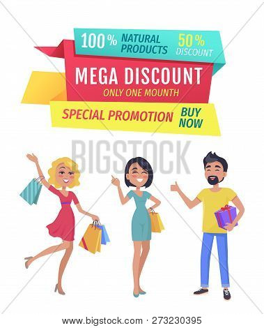 Exclusive Product Mega Discount Buy Now Promotion Only One Day. Smiling Shopping Clients With Bags A