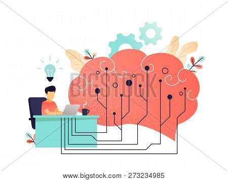 Brain With Digital Circuit And Programmer With Laptop. Machine Learning, Artificial Intelligence, Di